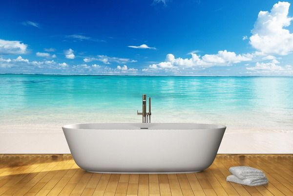 Beach Wall Mural In Bathroom | Clothing Entrance While Using Walls Mural  These Kinds Of Murals