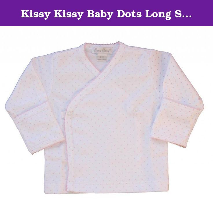 Kissy Kissy Baby Dots Long Sleeve Cross Tee-White with Pink Dots-0-3 Months. Kissy Kissy baby girls clothes soft white cotton Kissy Kissy infant long sleeve cross tee shirt with pink dots and pink edging. Snaps across the chest.