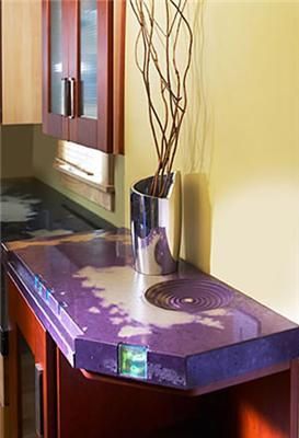 Purple, Embedded Glass Concrete Countertops Ideal Surface Euclid, OH