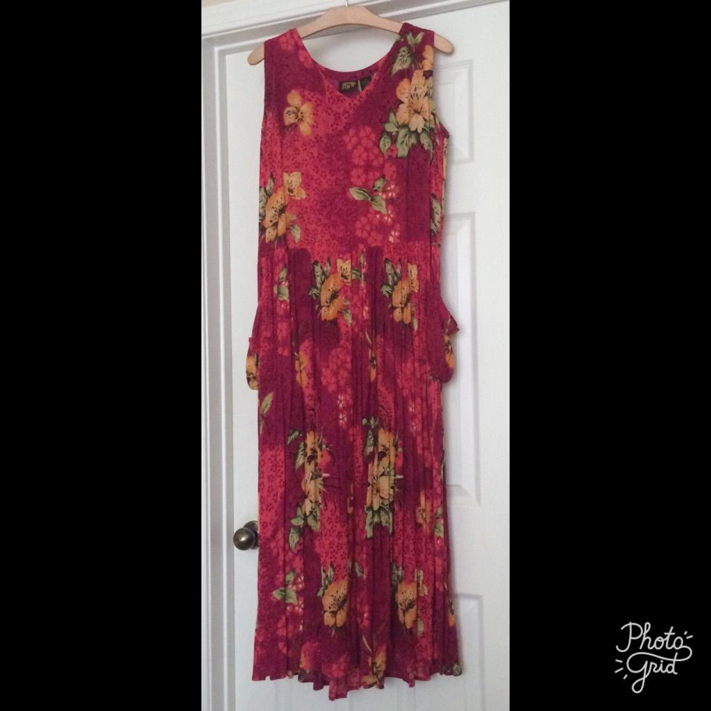Bila vintage hot pink floral long maxi dress products