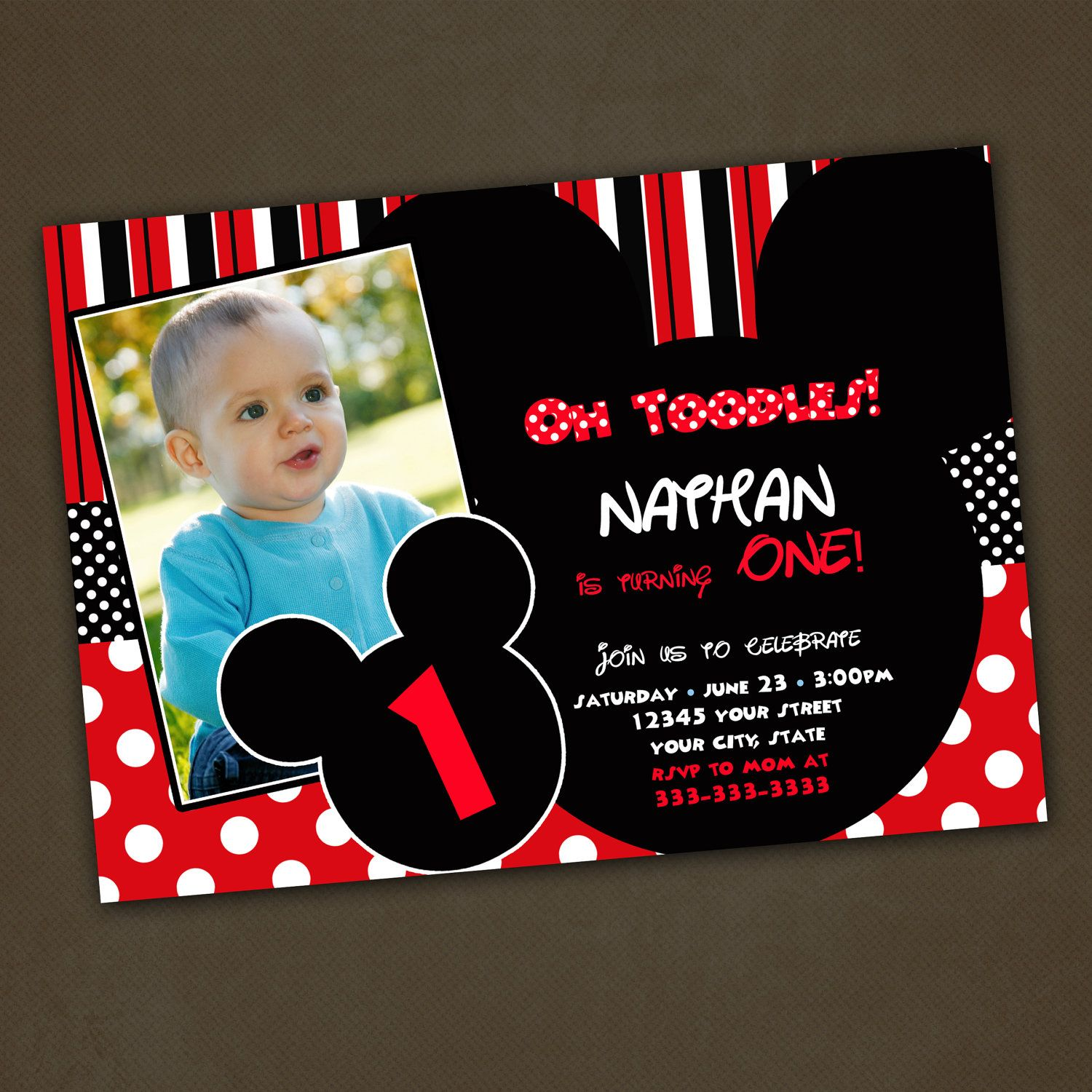 Mickey Mouse Birthday Invitations Custom by PinkSkyPrintables ...