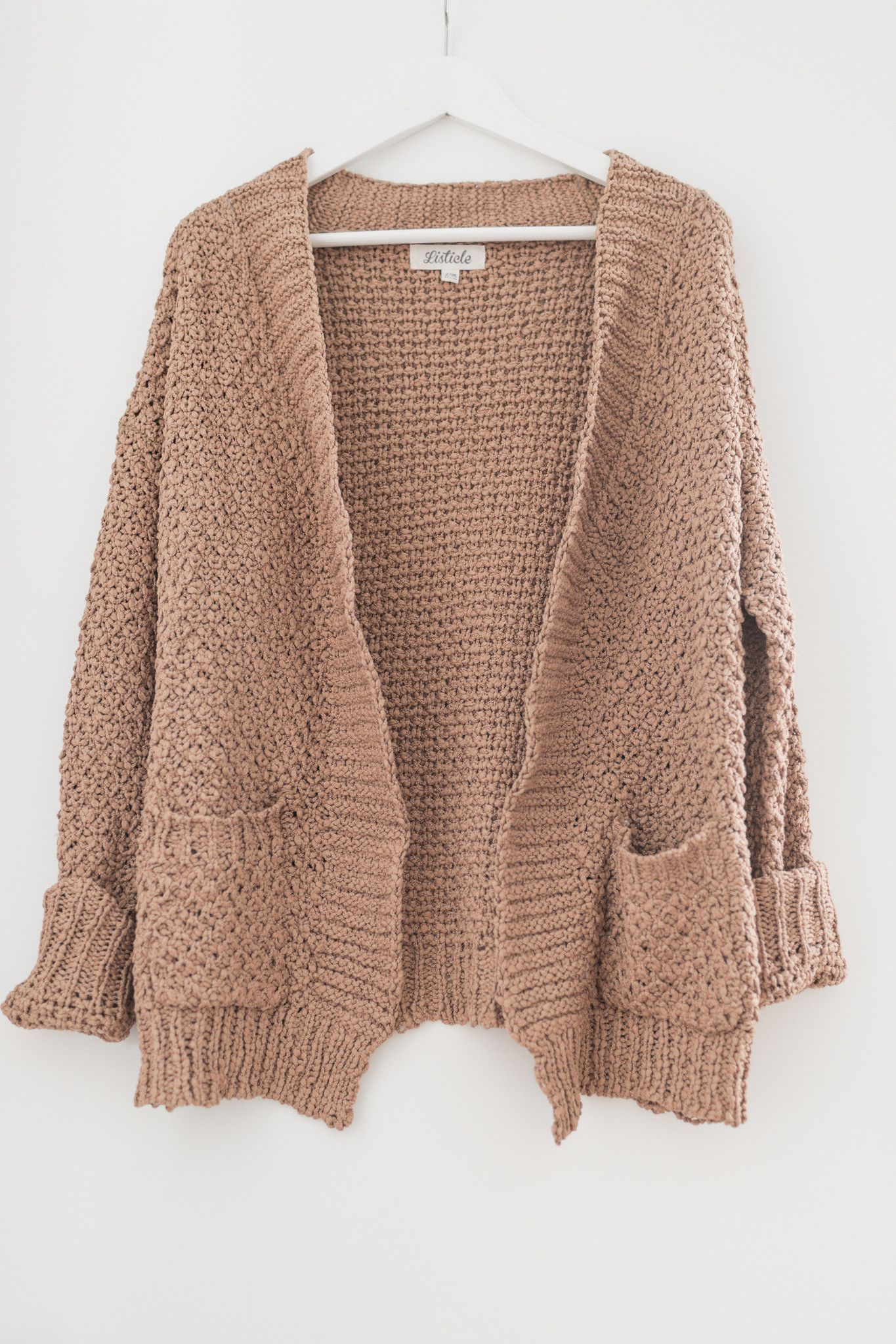Mocha butterfly crochet knitted cardigan - Super soft chunky knit ...
