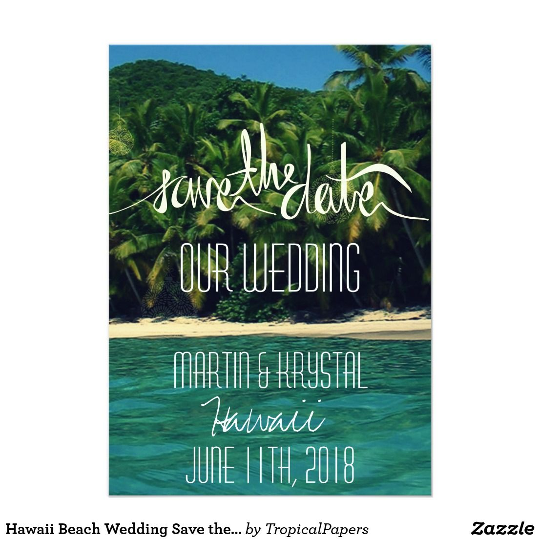 cruise wedding save the date announcement%0A Hawaii Beach Wedding Save the Date   x   Card
