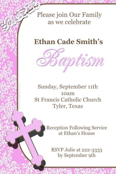 Cross Pink 1st First Holy Communion Invitations - Digital Download - invitation templates holy communion