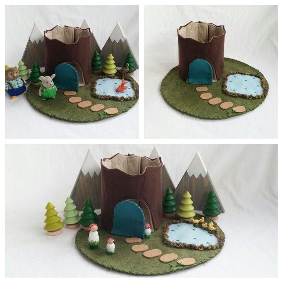 Frog Pond Tree Stump Cottage Playscape Play Mat Felt