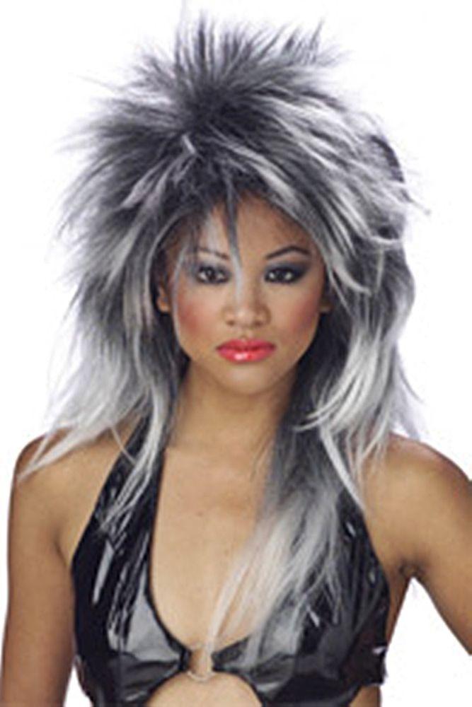 ad09540c7f DIVINE PUNK Silver  Black Spikey Tina Turner LOOK Diva Skunk   25   CaliforniaCostumeCollections  TINATURNER