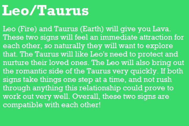 Leo Fire And Taurus Earth Will Give You Lava These Two Signs