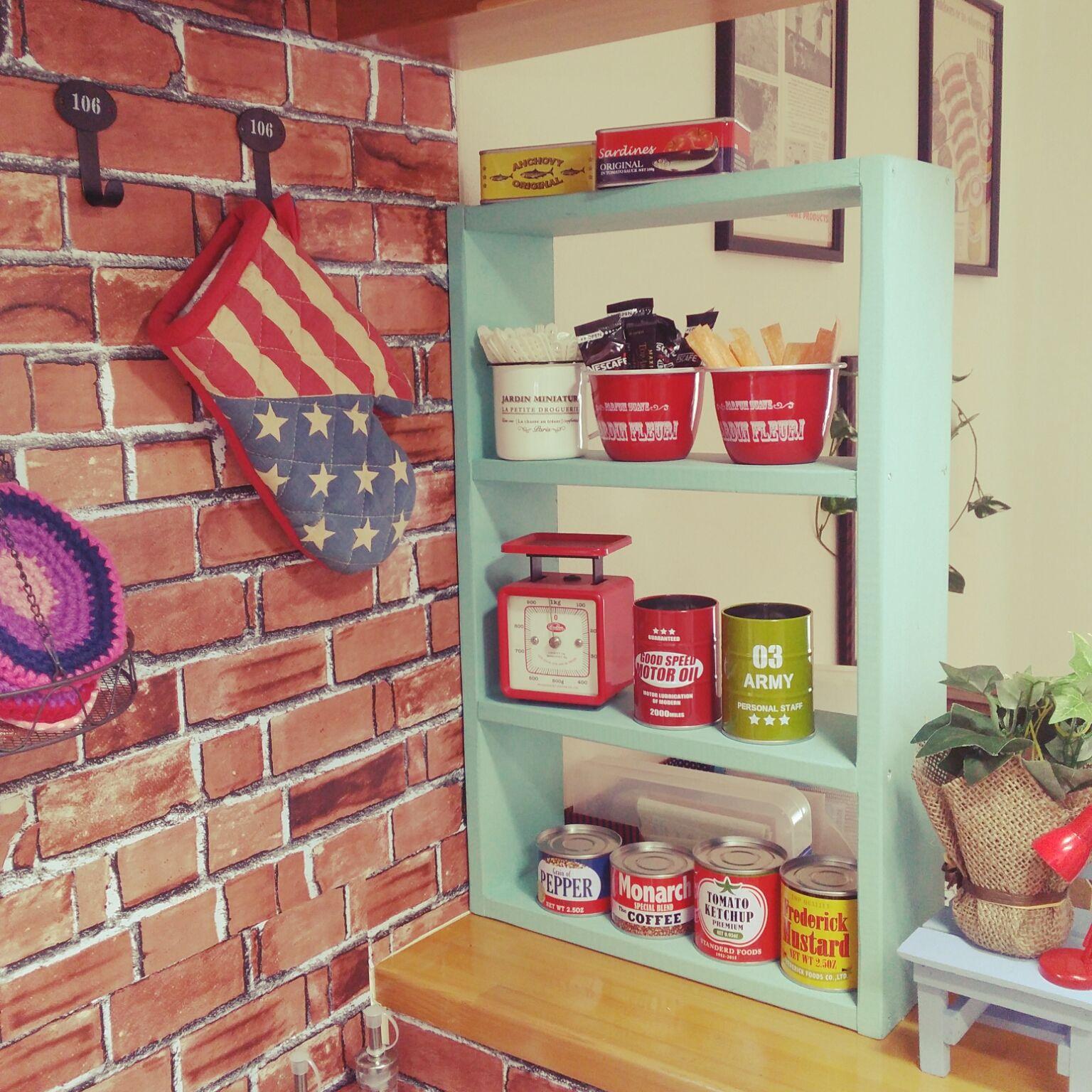 キッチン セリア ダイソー 缶好き アメリカン などのインテリア実例 16 03 10 14 26 31 Roomclip ルームクリップ インテリア 西海岸 インテリア トイレ インテリア アメリカン