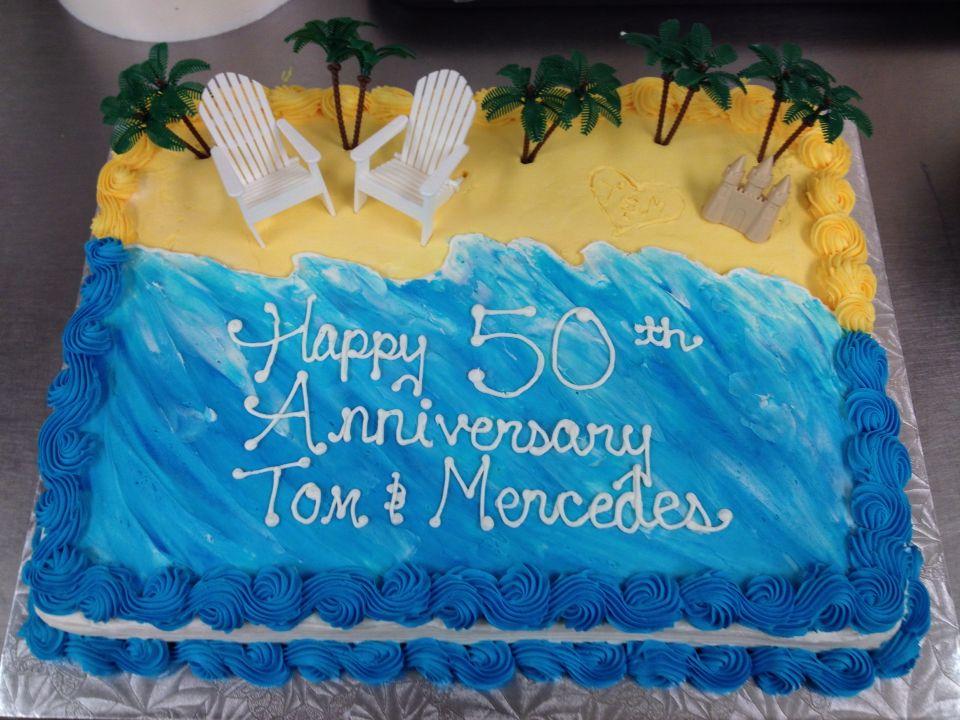 Beach Themed Anniversary Sheet Cake Beach Themed Cakes Luau