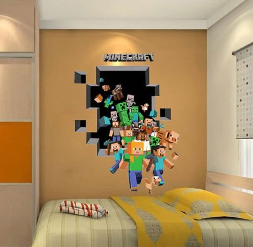 minecraft large vinyl sticker wallpaper decoration. Black Bedroom Furniture Sets. Home Design Ideas