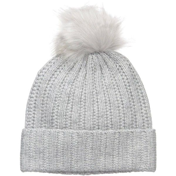 Amazon.com: BADGLEY MISCHKA Women's Cashmere Blend Ladder Stitch... ($70) ❤ liked on Polyvore featuring accessories, hats, pom pom beanie hat, faux-fur hat, badgley mischka hat, pom pom hats and fox beanie hats