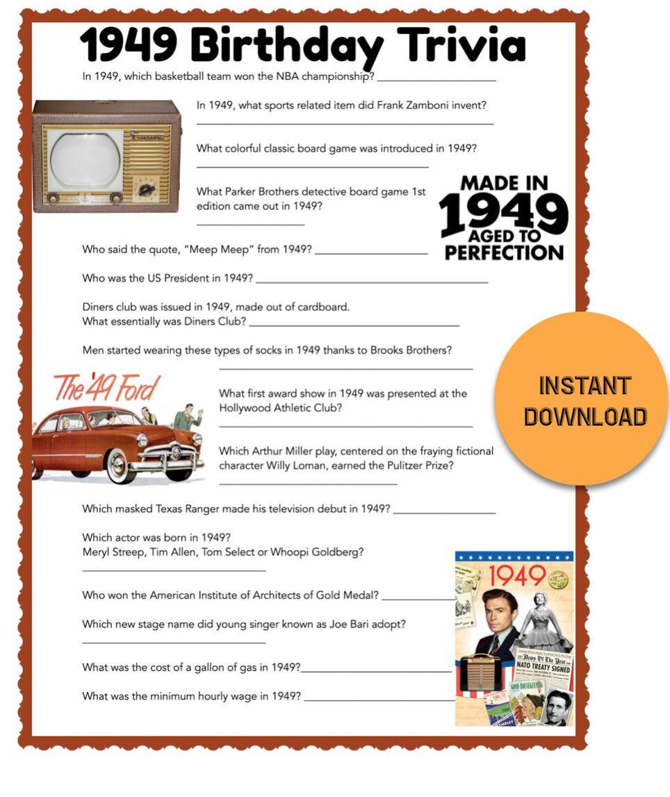 1949 Birthday Trivia Game Birthday Party Trivia