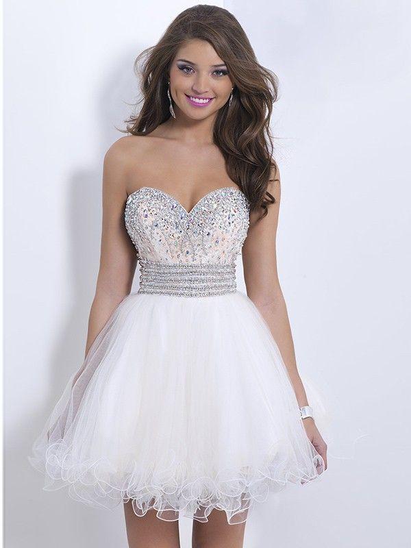 Blanco Corte A   Princesa Sin tirantes sin mangas bordado corto Mini  Organza   Vestidos de cóctel por € 727 512473a4afb1