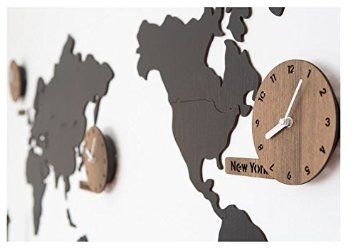 Amazon wooden world map wall clock 3 country time puzzle diy amazon wooden world map wall clock 3 country time puzzle diy wall silent gumiabroncs Choice Image