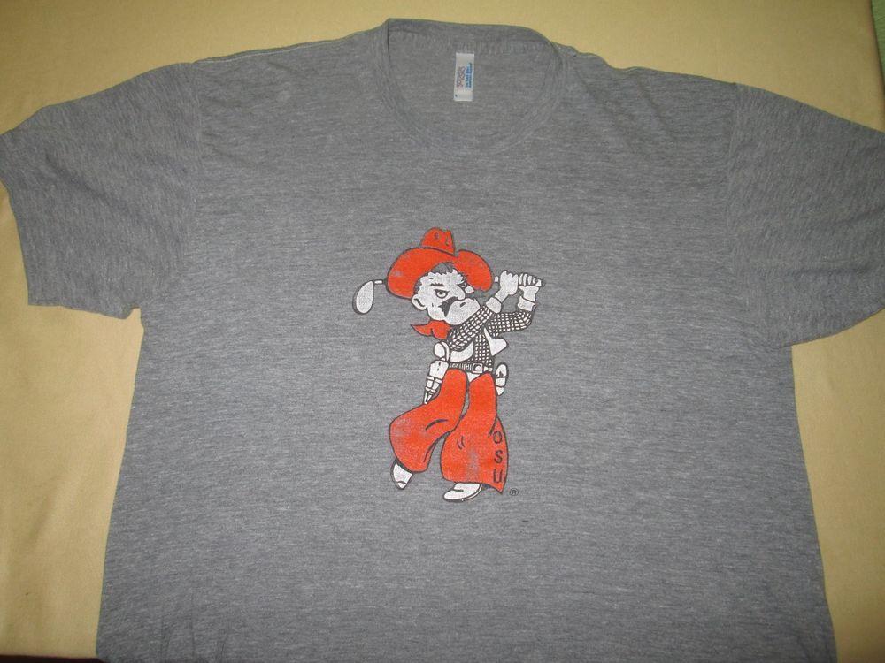 3644ae10c15f5 Team Issue Oklahoma State Cowboys GOLF NCAA T Shirt - L - Gray - Tri Blend   AmericanApparel  OklahomaStateCowboys