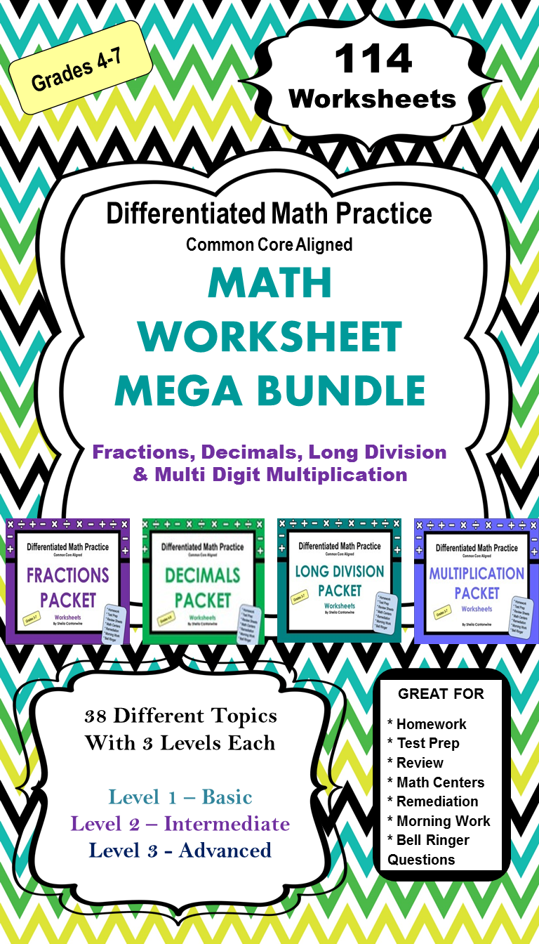 Math Worksheet Bundle (Differentiated) | Long division, Math ...