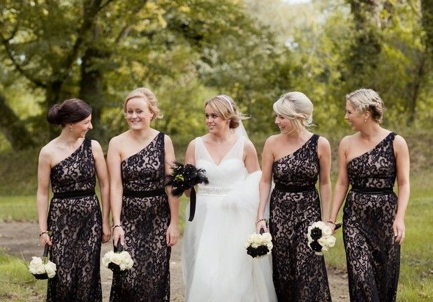 Michelle Prunty Photography Black And Cream Bridesmaid Dresses