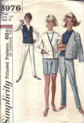 5976-Vintage-Simplicity-Sewing-Pattern-Teen-Blouse-Jacket-Pants ...
