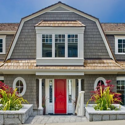 Grey House Brown Roof Red Door Brown Roofs Traditional Exterior Cottage Front Doors