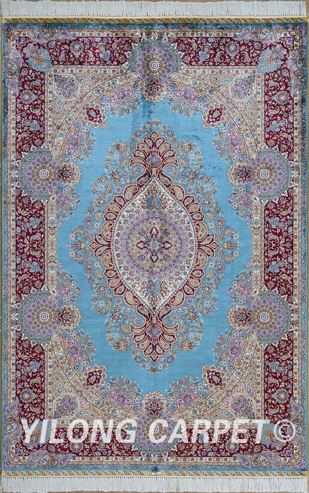 Blue And Red Hand Woven Silk Rug Turkish Knots Carpet Materials Silk Style Traditional Dyeing Vegetable Blue Oriental Rug Carpet Handmade Silk Rug