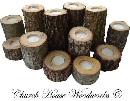 wood candle centerpiece - Google Search