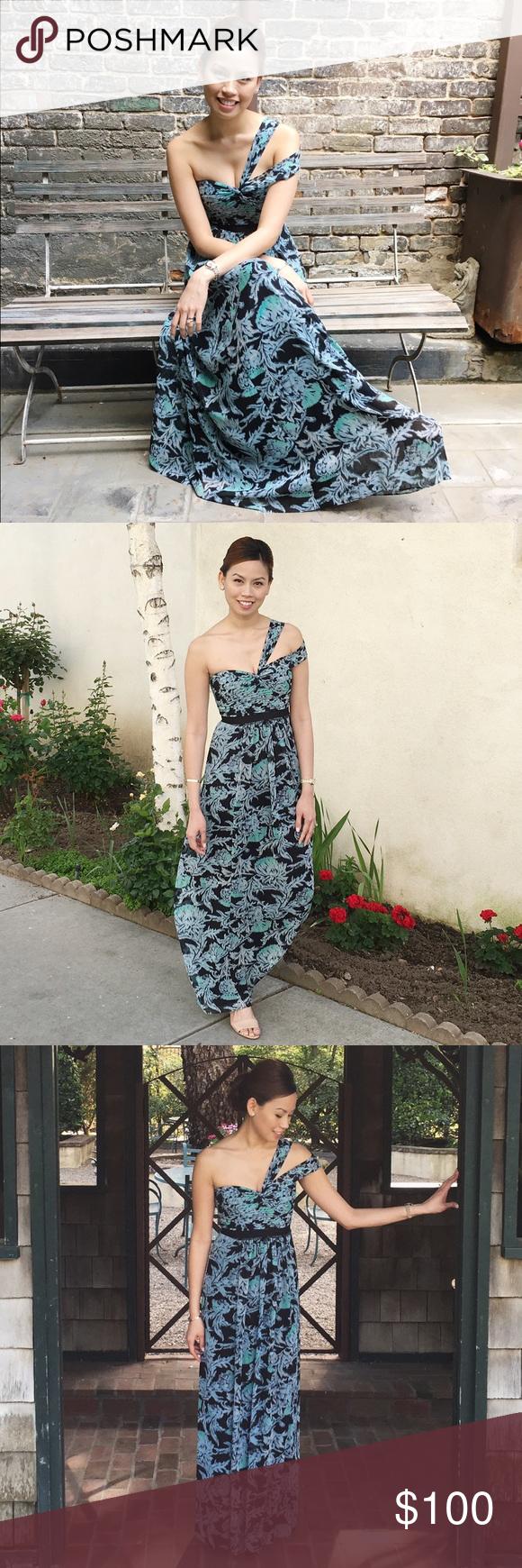BCBG Printed Long Dress BCBG Long Printed Dress • Size: 2 BCBGMaxAzria Dresses One Shoulder
