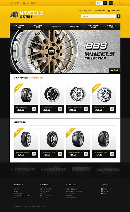Wheels & Tires PrestaShop Theme | Ecommerce web design, eCommerce ...