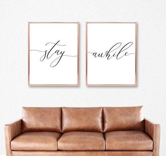Stay Awhile Bedroom Print Living Room Quote Decor Printable