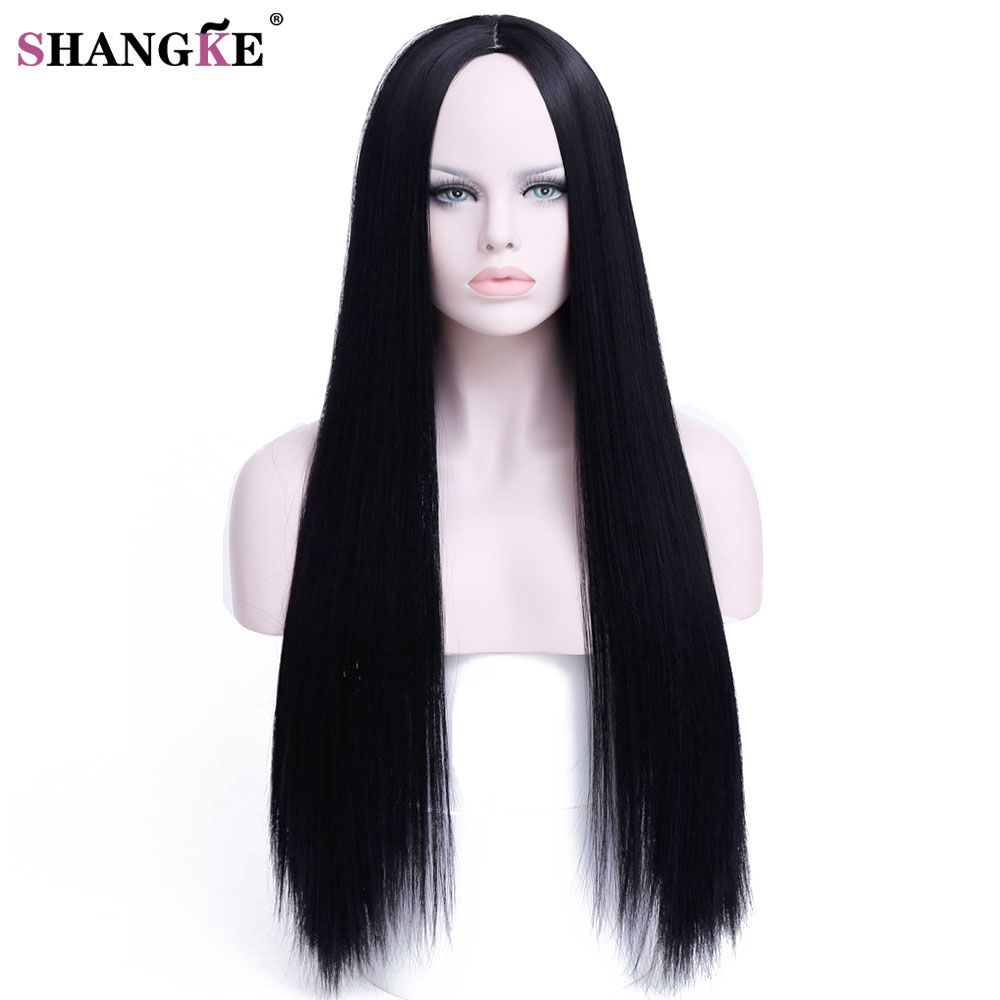 Cheapest Shangke Hair 30 Inch Long Straight Black Wig Hairstyles