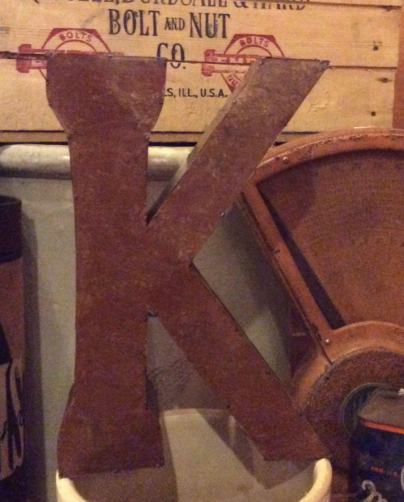 """Tall Metal Letters Metal Letter  14"""" Tall Metal Letter K  Metals Alphabet"""
