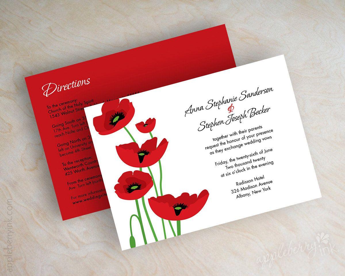 Poppy wedding invitations, poppy flower wedding stationery, red and ...