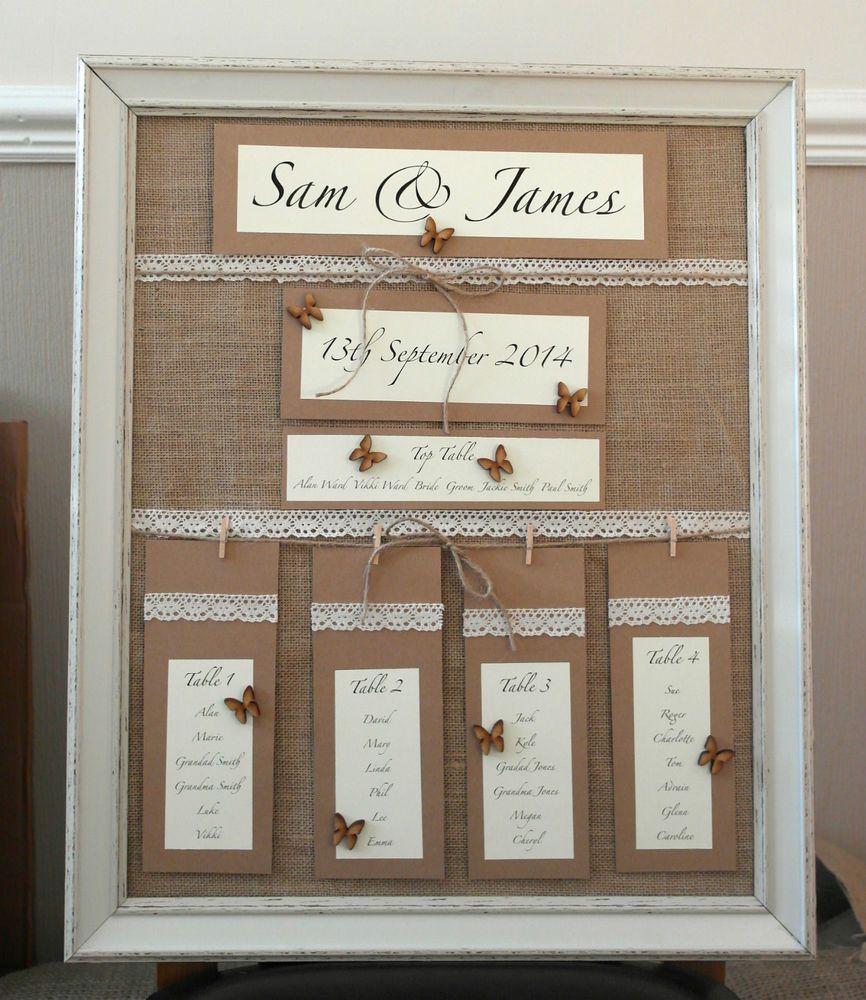 Wedding Table Plans Ideas: Handmade Wedding Table Plan Vintage Style Personalised