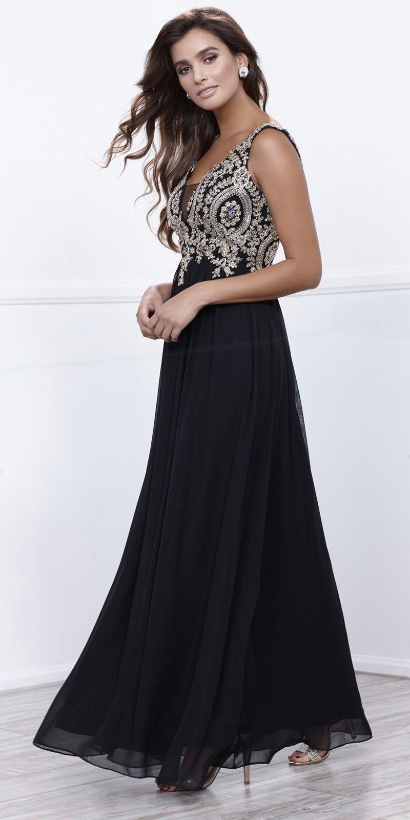 Bashful vneck sheer inset appliqued long formal dress sleeveless