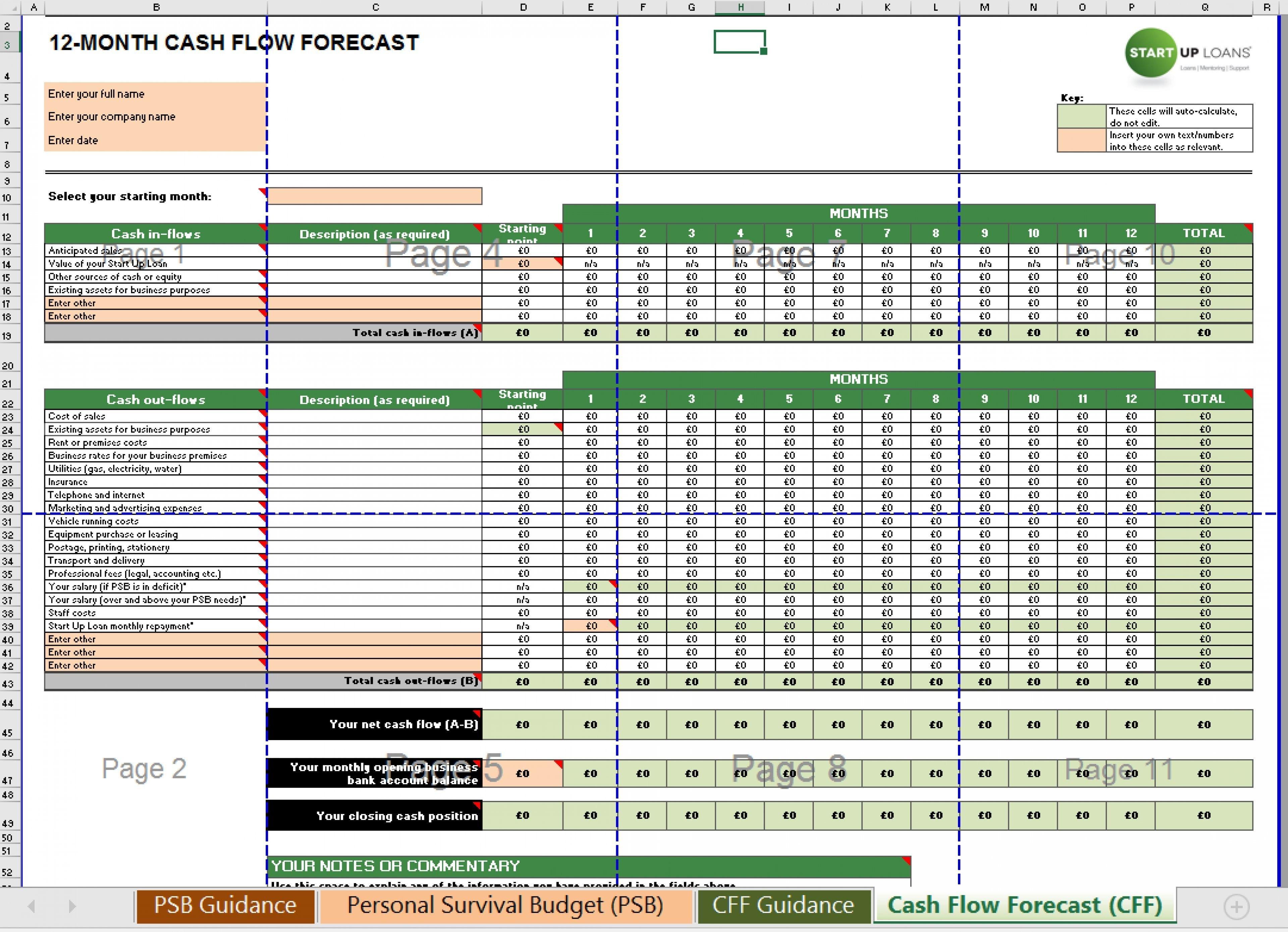 New Excel Cash Flow Template Xlstemplate Xlssample Xls Xlsdata Cash Flow Statement Cash Flow Flow Chart Template