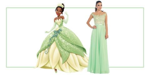 Tiana's mint-green dress is so pretty for prom, especially with sparkly details. Mint Sheer Illusion Lace Chiffon Long Gown, $193, prom.unique-vintage.com