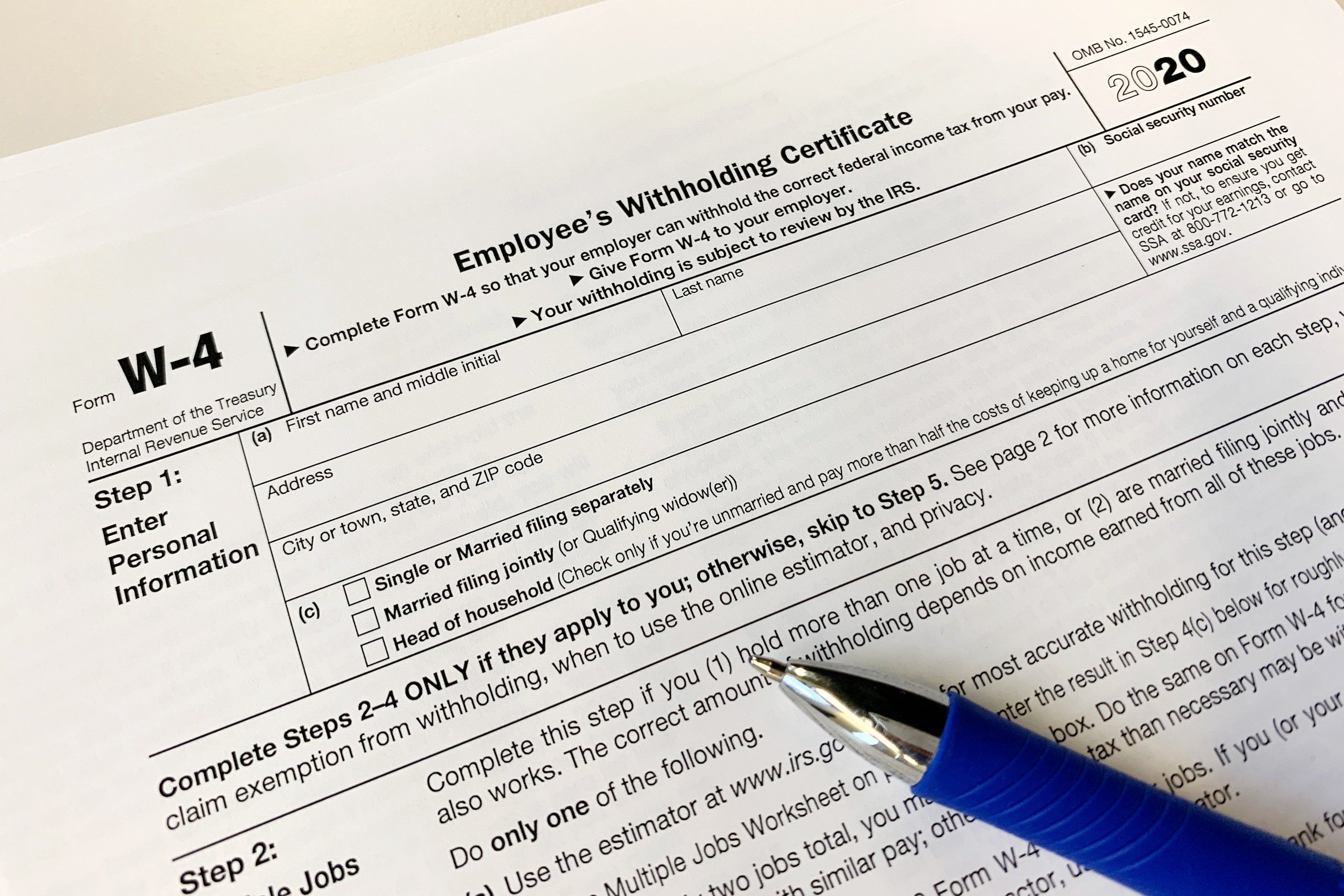 The Irs Has A New Easier W 4 For Withholding Taxes In