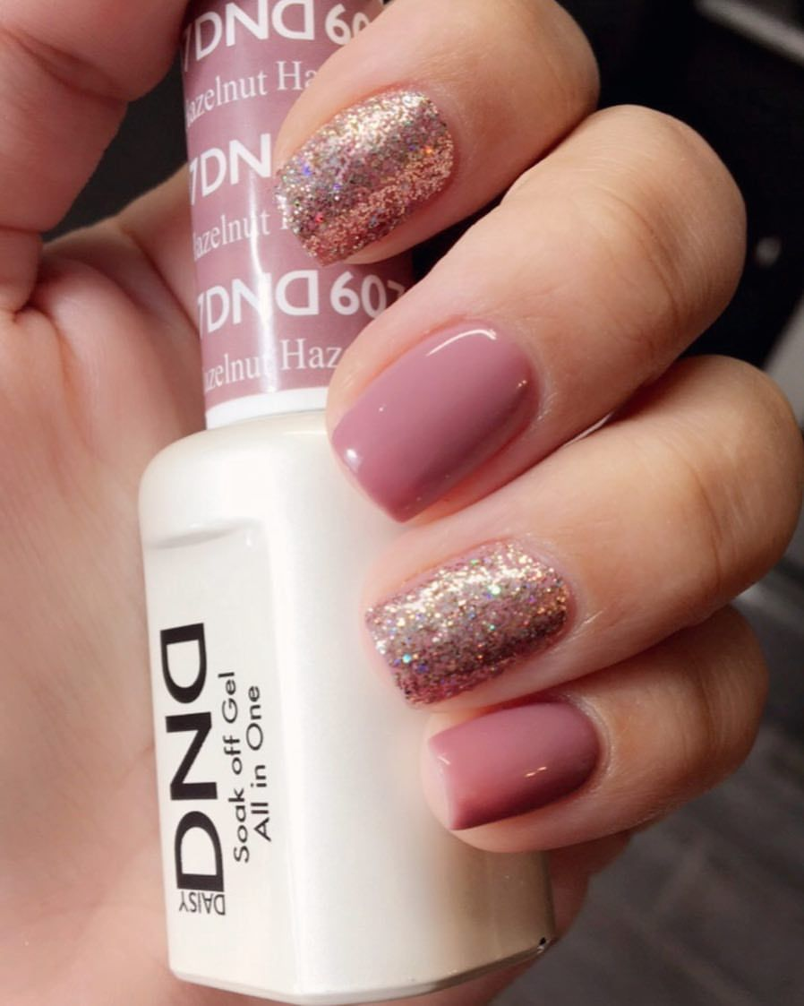Dnd Hazelnut Gel Polish With Light Elegance Glitter Gel Champagne