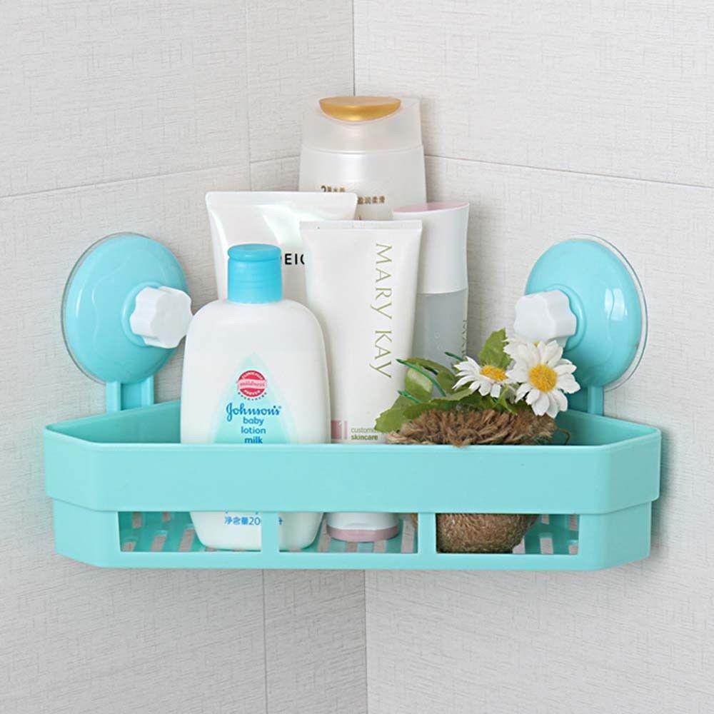 Wall Corner Storage Shelf Shower Holder Sucker Rack Plastic Bathroom ...