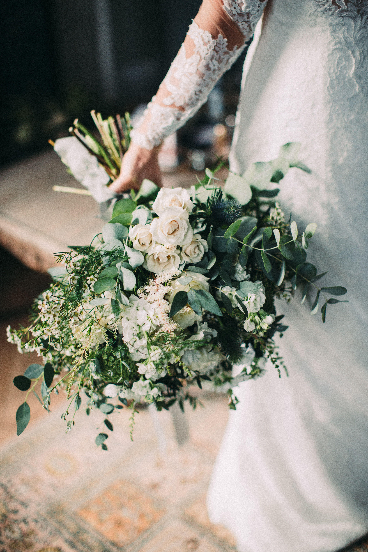 Bridal bouquetwhite wedding flowersinteresting foliagejust