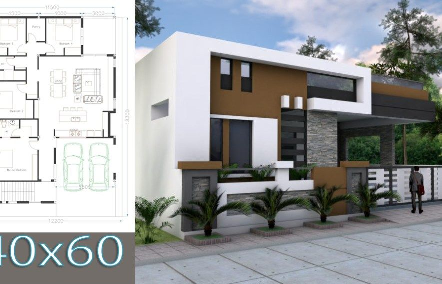 One Story House Plan 40 60 Sketchup Home Design House Construction Plan Small House Design Plans House Design
