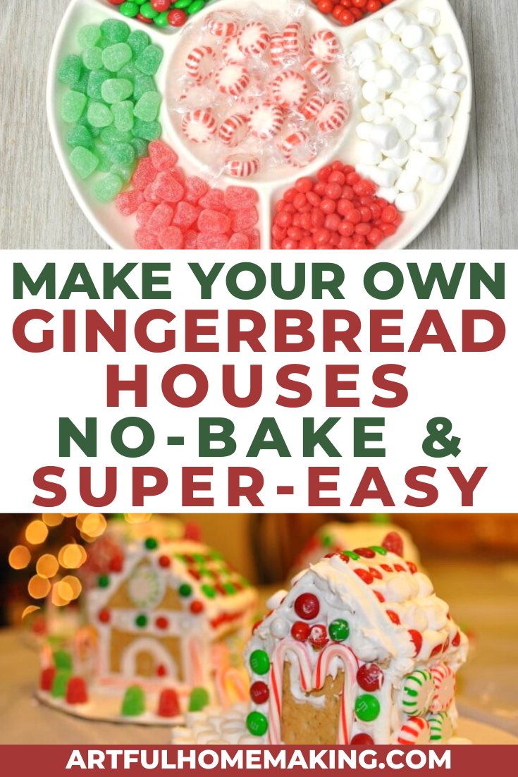 Easy no-bake gingerbread houses are a fun holiday tradition! We've been making them for many years now, and my kids love them! They're a great Christmas craft! #gingerbread #gingerbreadhouse #christmas #christmastreats #holidaytreats