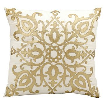Gold Leather Applique Throw Pillow (20