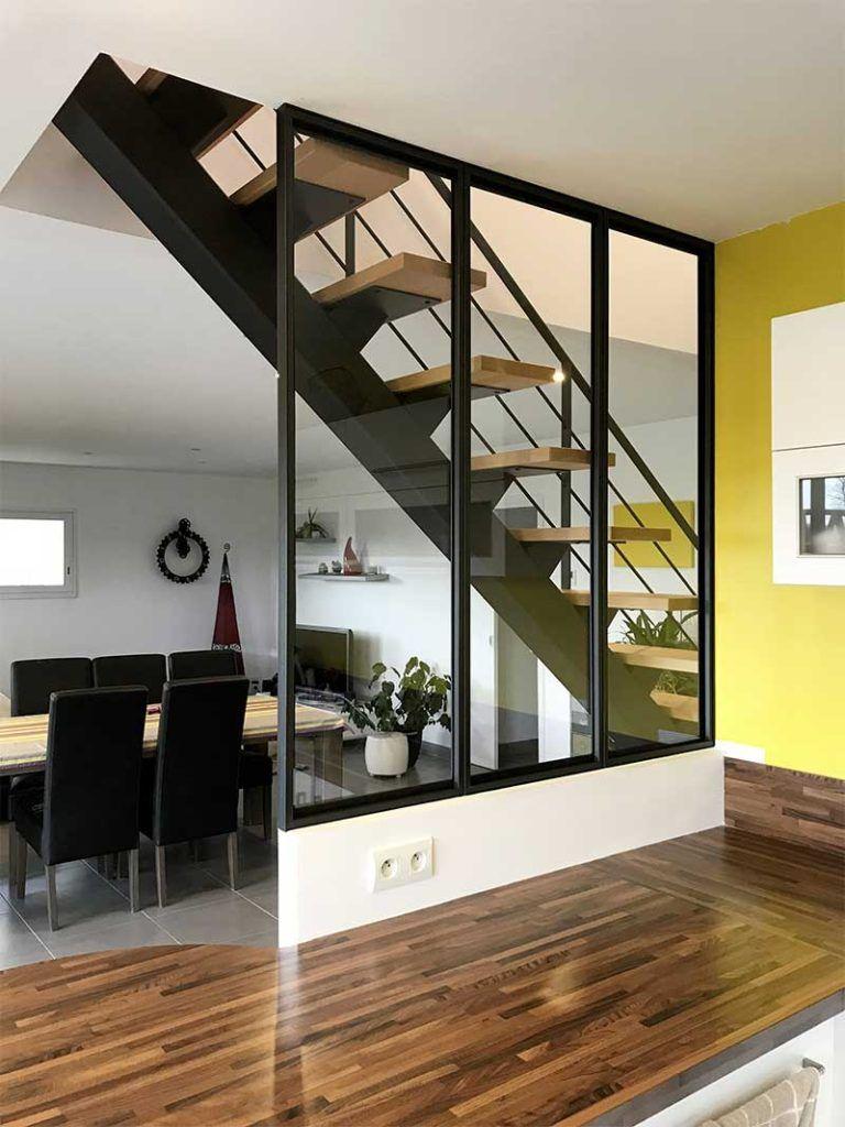 Escalier Bois Metal Noir escalier limon central verriere metal noir bois | escalier