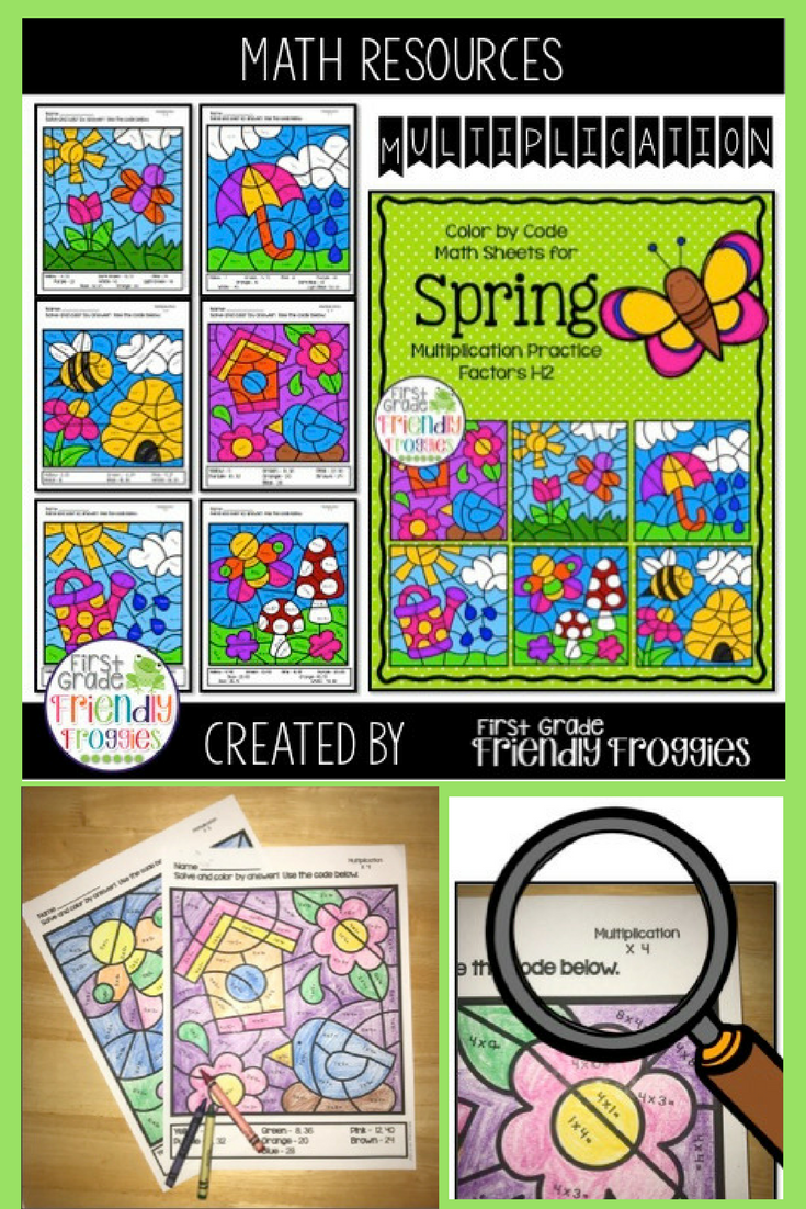 Math Coloring Sheets for Spring - Multiplication Practice Worksheets ...