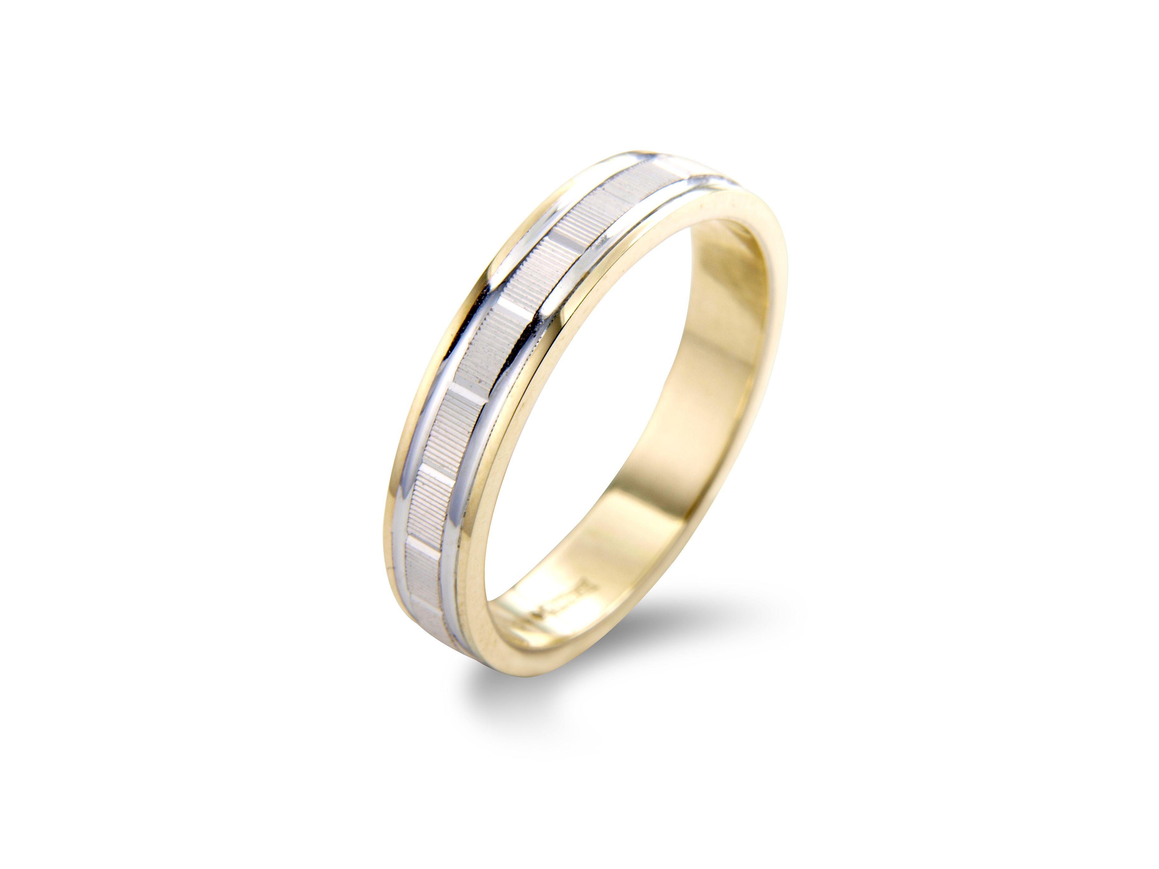 Bi Metal Wedding Ring Combining Yellow And White Gold Textured Pattern On