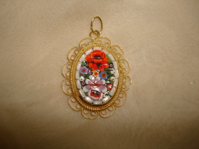 "Vintage MICRO MOSAIC Roses Oval PENDANT ~ (1-1/2"" x 1-1/4"") ~ Filigree Frame by PastPossessionsOnly on Etsy"