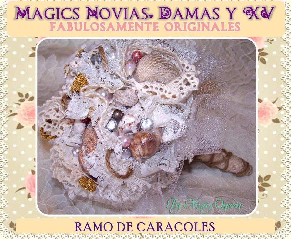 Ramo de Novia o Quinceañera, Hecho a mano, en Mexicali,B.C. By Mony Queen. En Magics Novias y Quinceañeras Tienda #ramo #bouquet #novia #bride #quinceañera #xv #hechoamano #handmade #mexicali #mexico #vintage #rustic #magic #original #lace #encaje #fabric #floral #magics #fairytale #wedding #boda #bridal #nupcial #sea #conchas #caracoles #mar #playa #snails #seashell