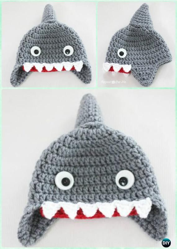 Crochet Shark Earflap Hat Free Pattern Instructions-DIY Crochet Ear ...