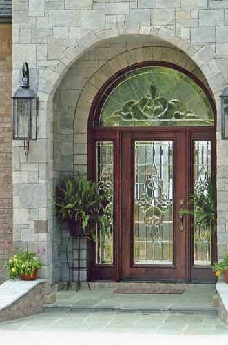 Custom Leaded Glass Front Door With Sidelights And Transom.