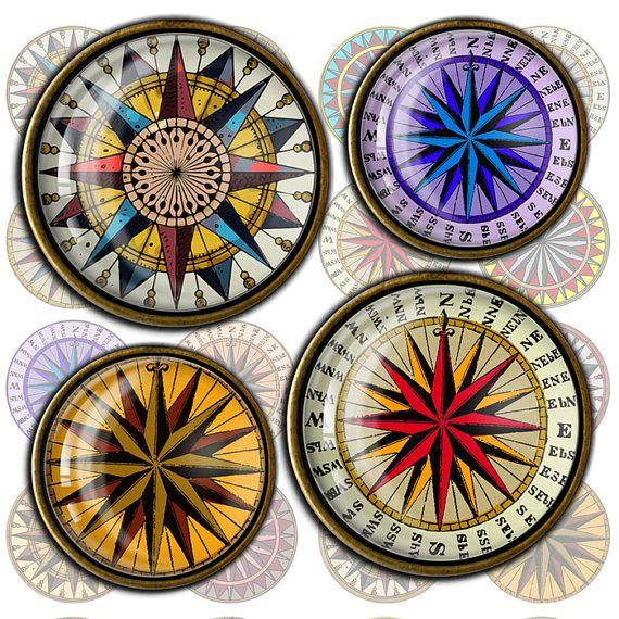 Compass Rose - circle images for Pendants, Bottle caps, Scrapbooking Printable Digital Collage Sheet